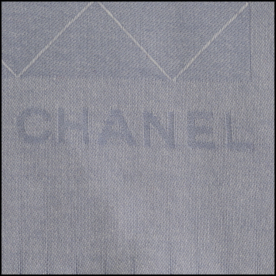 RDC10328 Chanel Light Blue Cashmere/Silk Fringe Wrap logo