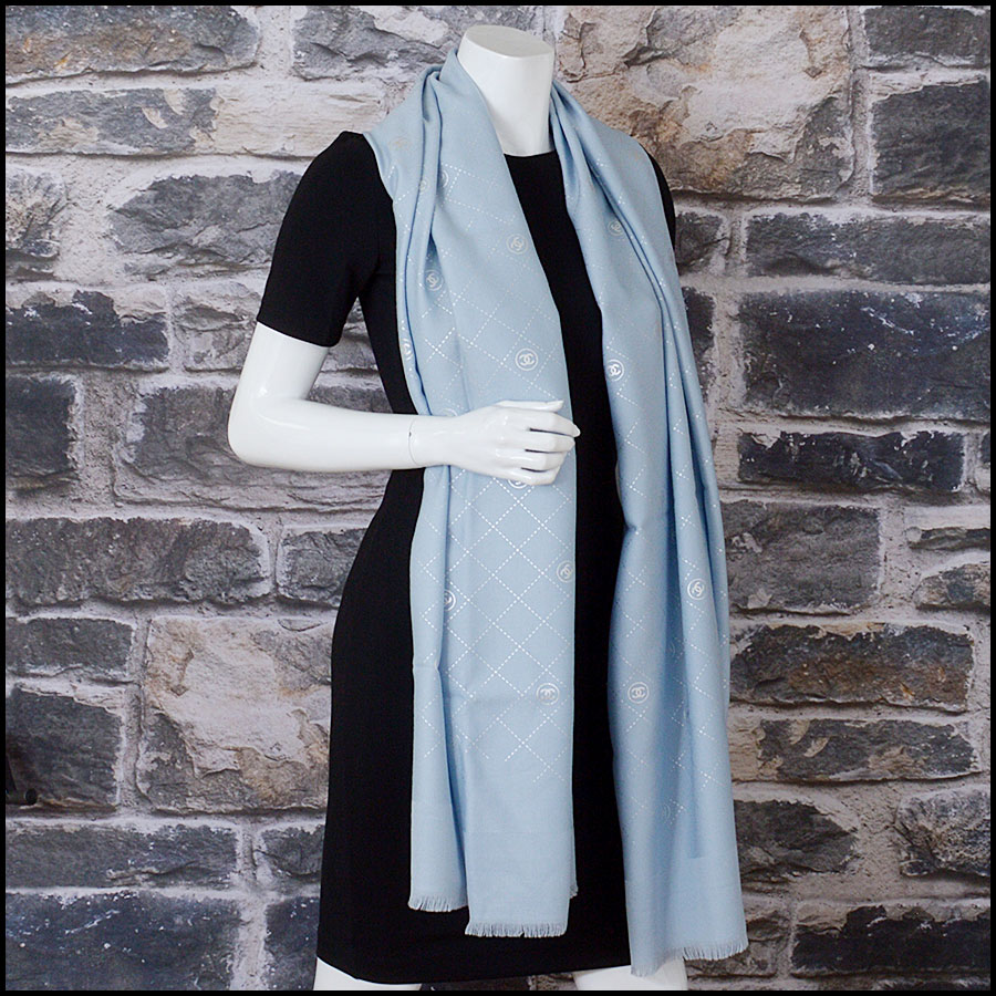 RDC11091 Chanel Light Blue Silver Stamped Logo Wool Scarf/Wrap model