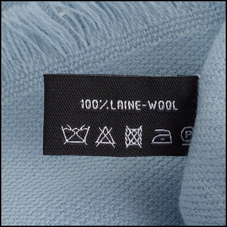 RDC11091 Chanel Light Blue Silver Stamped Logo Wool Scarf/Wrap tag