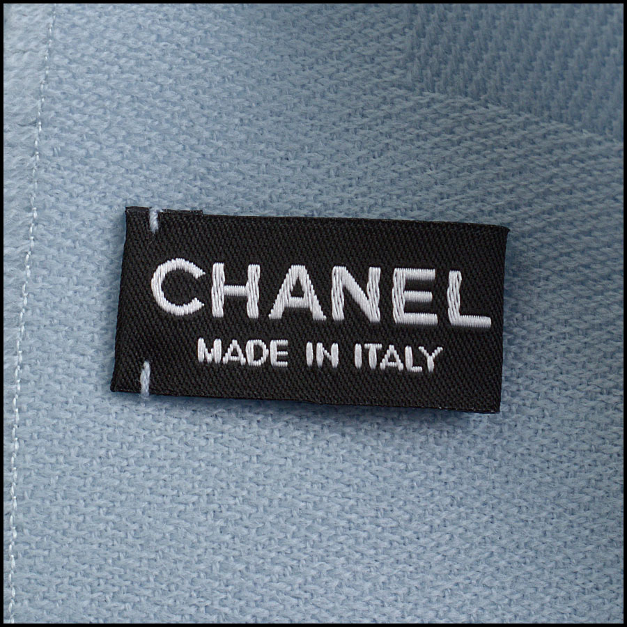 RDC11091 Chanel Light Blue Silver Stamped Logo Wool Scarf/Wrap tag 1