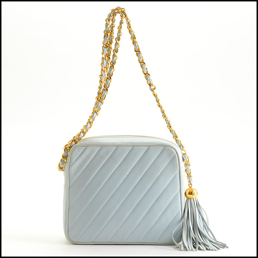 RDC11212 Chanel Light Blue Square Quilted Camera Bag back