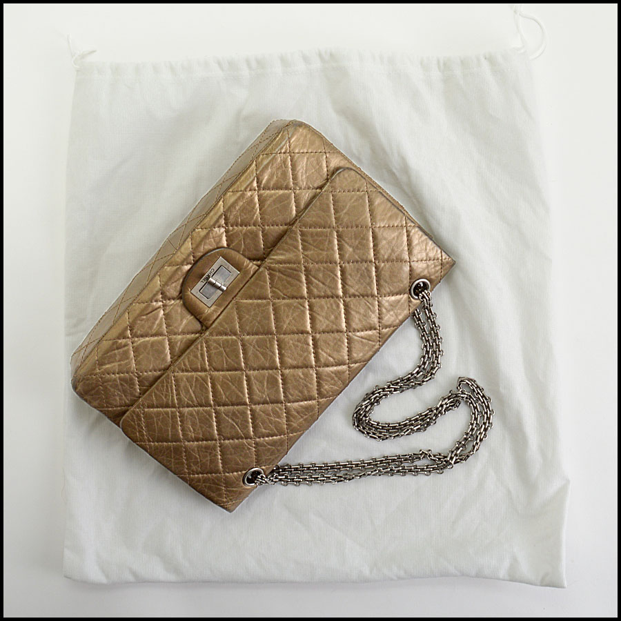 RDC10805 Chanel Bronze Aged Calfskin Reissue Classic Jumbo includes