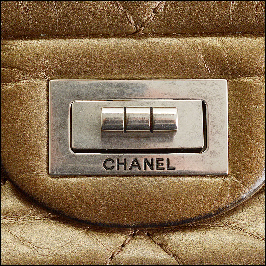 RDC10805 Chanel Bronze Aged Calfskin Reissue Classic Jumbo tag 1