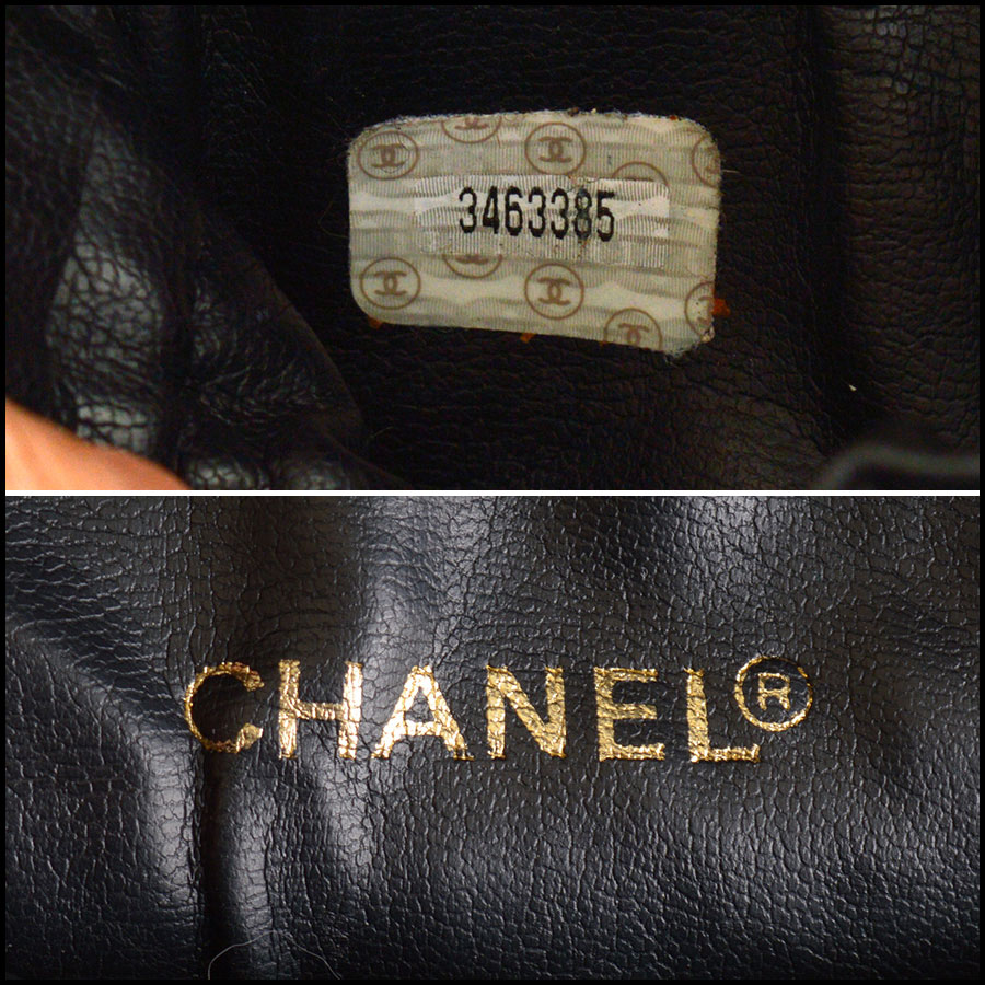 RDC9626 Chanel Vintage Black Leather Train Case tag