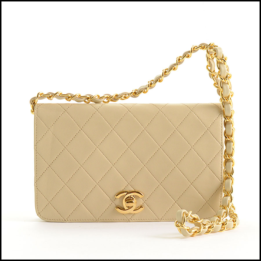 RDC10824 Chanel Vintage '87 Beige Quilted Full Flap Bag
