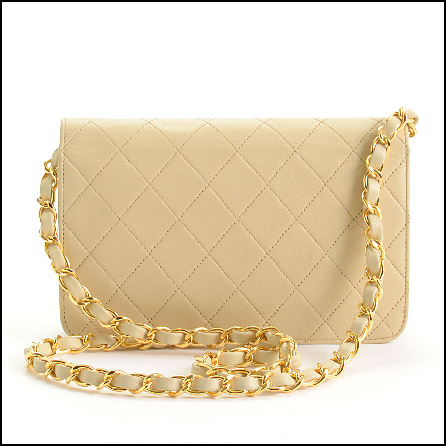 RDC10824 Chanel Vintage '87 Beige Quilted Full Flap Bag back