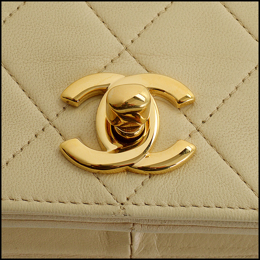 RDC10824 Chanel Vintage '87 Beige Quilted Full Flap Bag close up