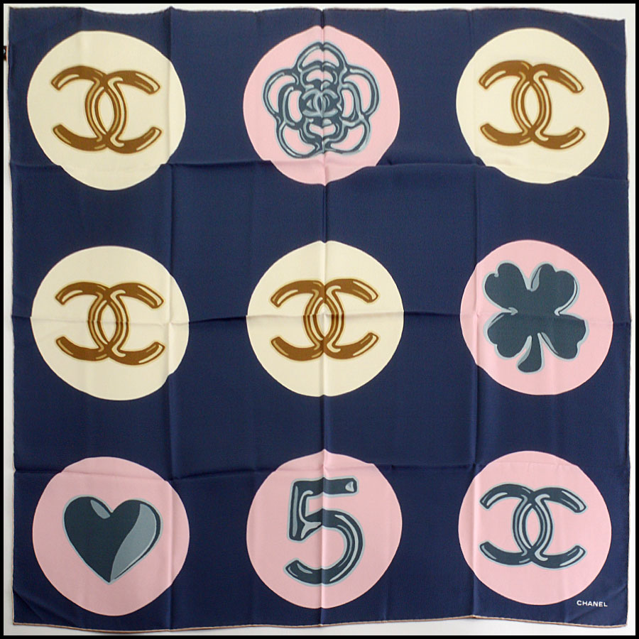 RDC11064 Chanel Navy/Pink/Ivory Lucky Charms Silk Scarf