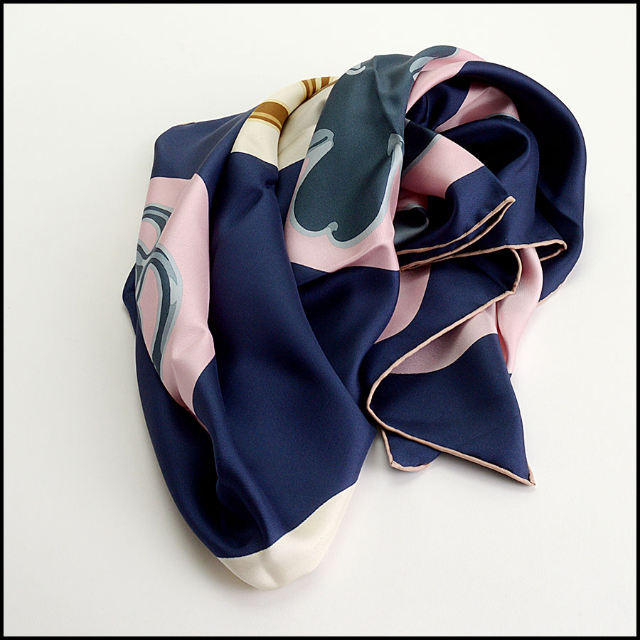 RDC11064 Chanel Navy/Pink/Ivory Lucky Charms Silk Scarf fold