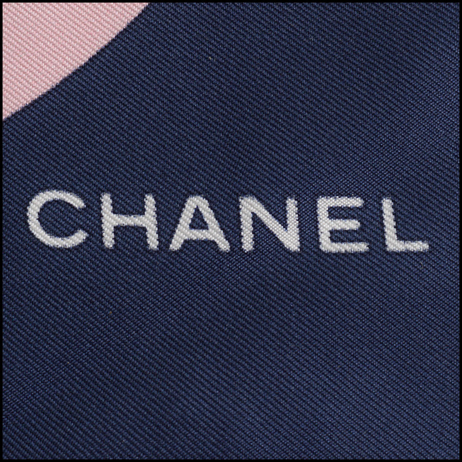 RDC11064 Chanel Navy/Pink/Ivory Lucky Charms Silk Scarf tag 2