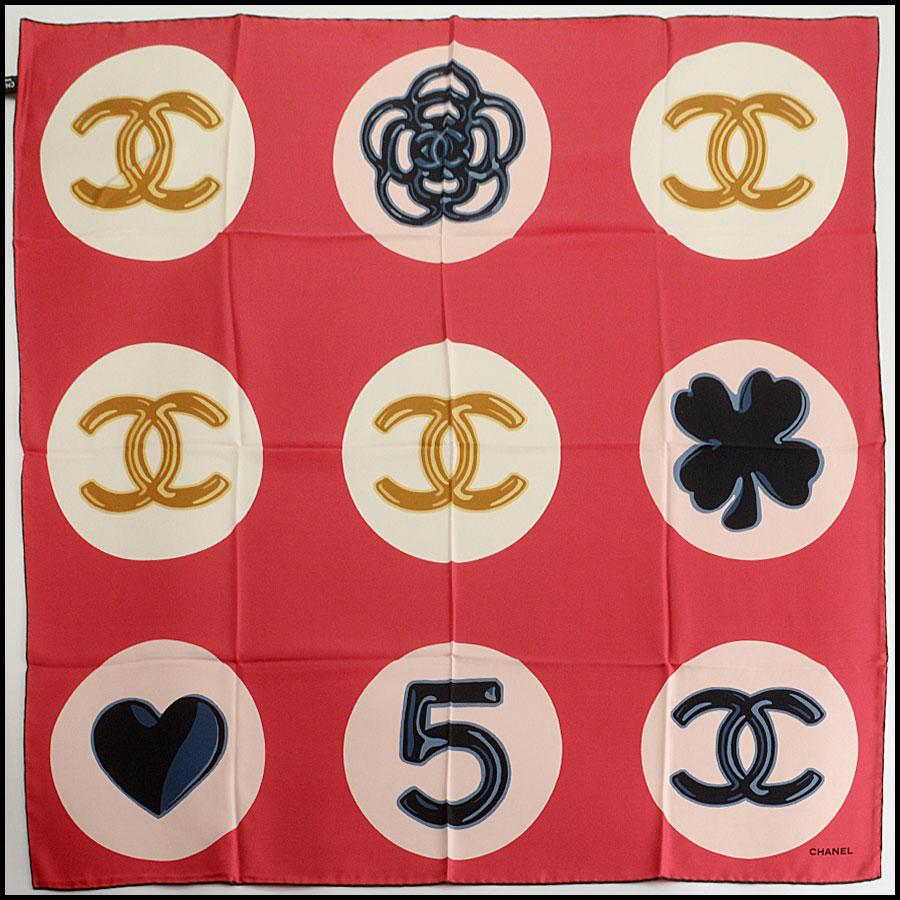 RDC11065 Chanel Red/Ivory/Navy Lucky Charms Silk Scarf