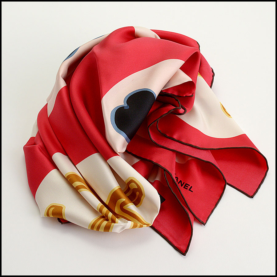 RDC11065 Chanel Red/Ivory/Navy Lucky Charms Silk Scarf fold