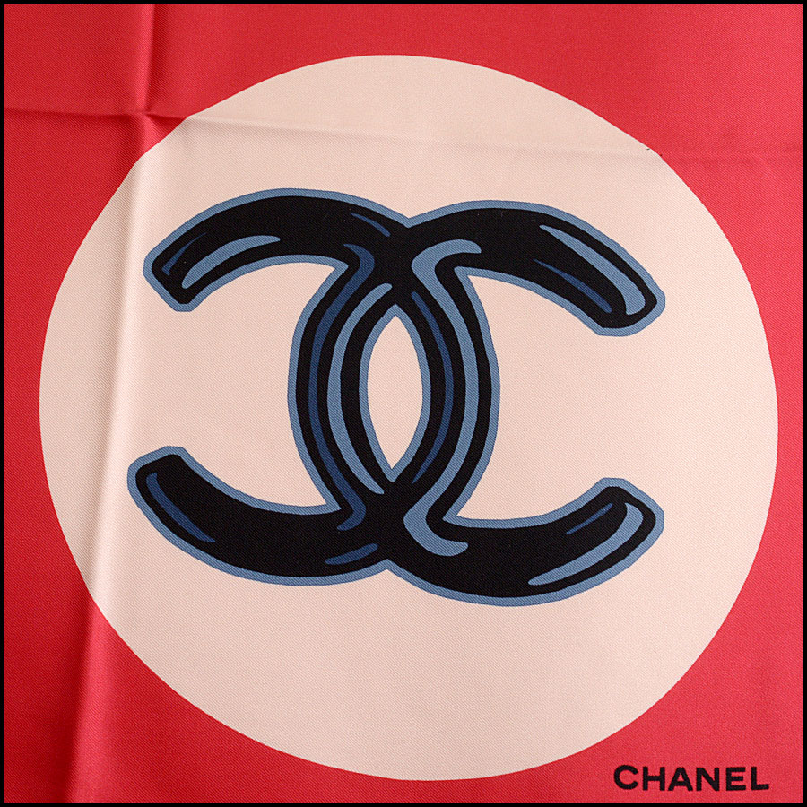 RDC11065 Chanel Red/Ivory/Navy Lucky Charms Silk Scarf logo