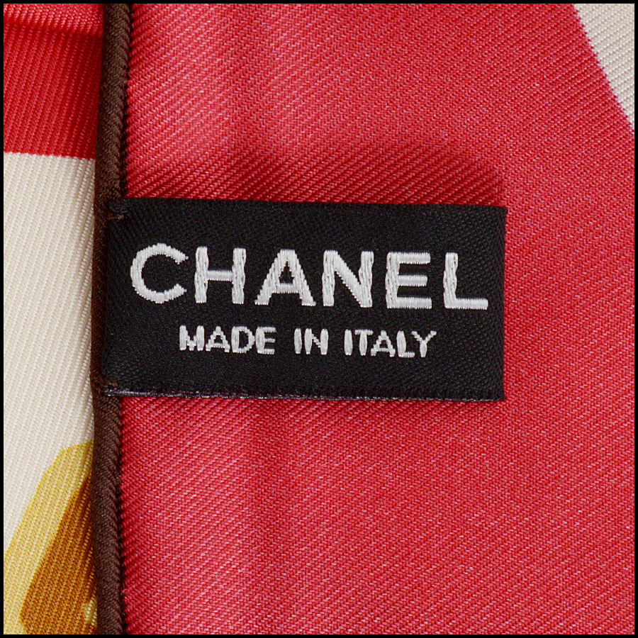 RDC11065 Chanel Red/Ivory/Navy Lucky Charms Silk Scarf tag 1