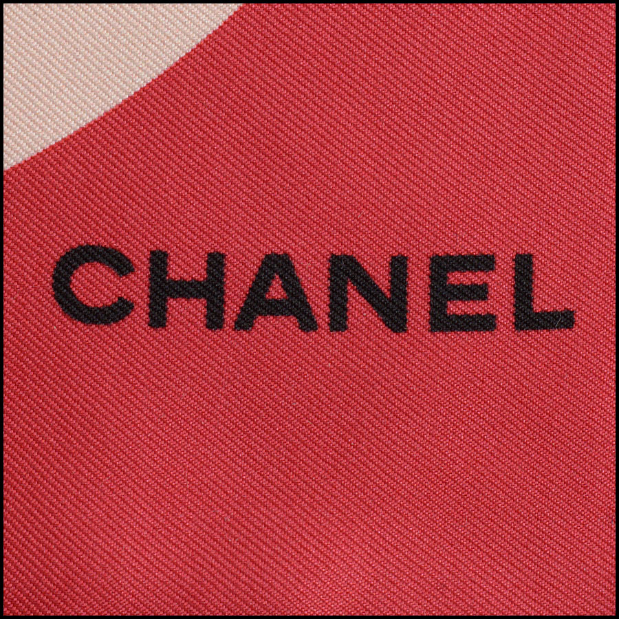 RDC11065 Chanel Red/Ivory/Navy Lucky Charms Silk Scarf tag 2