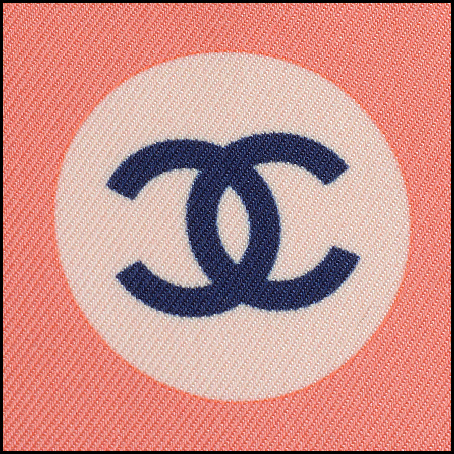 RDC11069 Chanel Coral Pink/Ivory/Multi Cruise Silk Scarf logo