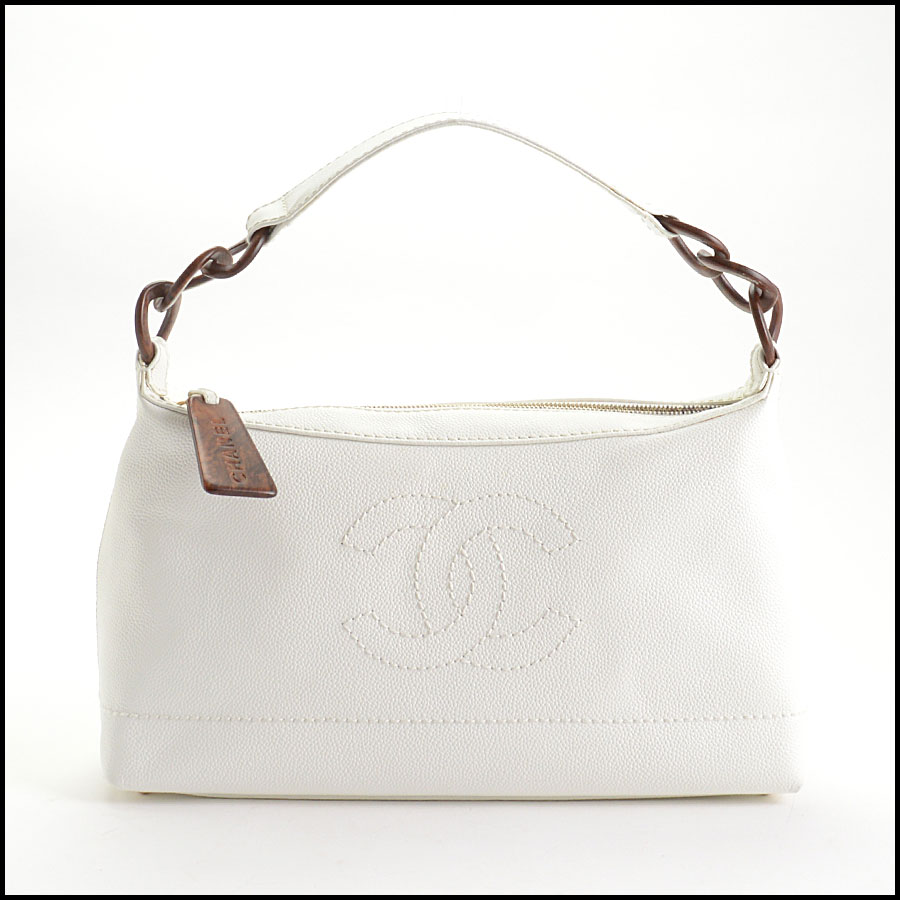 RDC10612 Chanel White Caviar Leather Sac Divers Bag