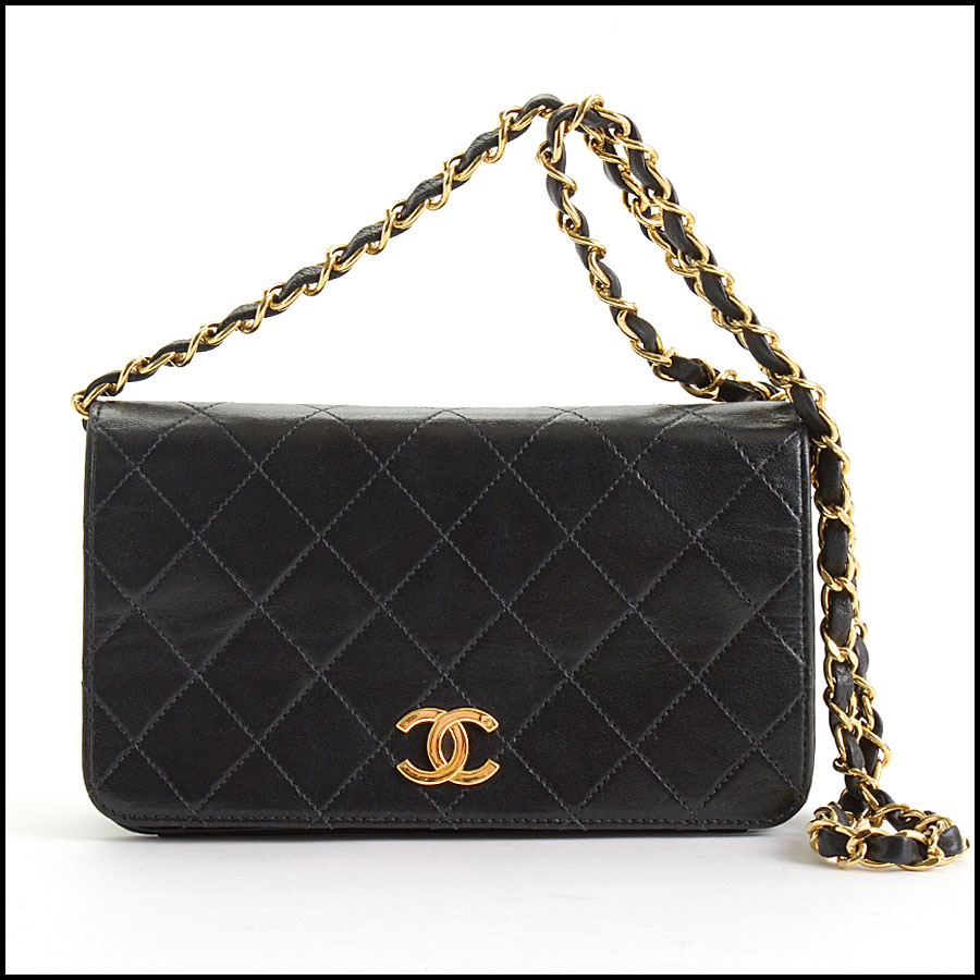 RDC10689 Chanel Black Quilted Lambskin Full Flap Evening Bag