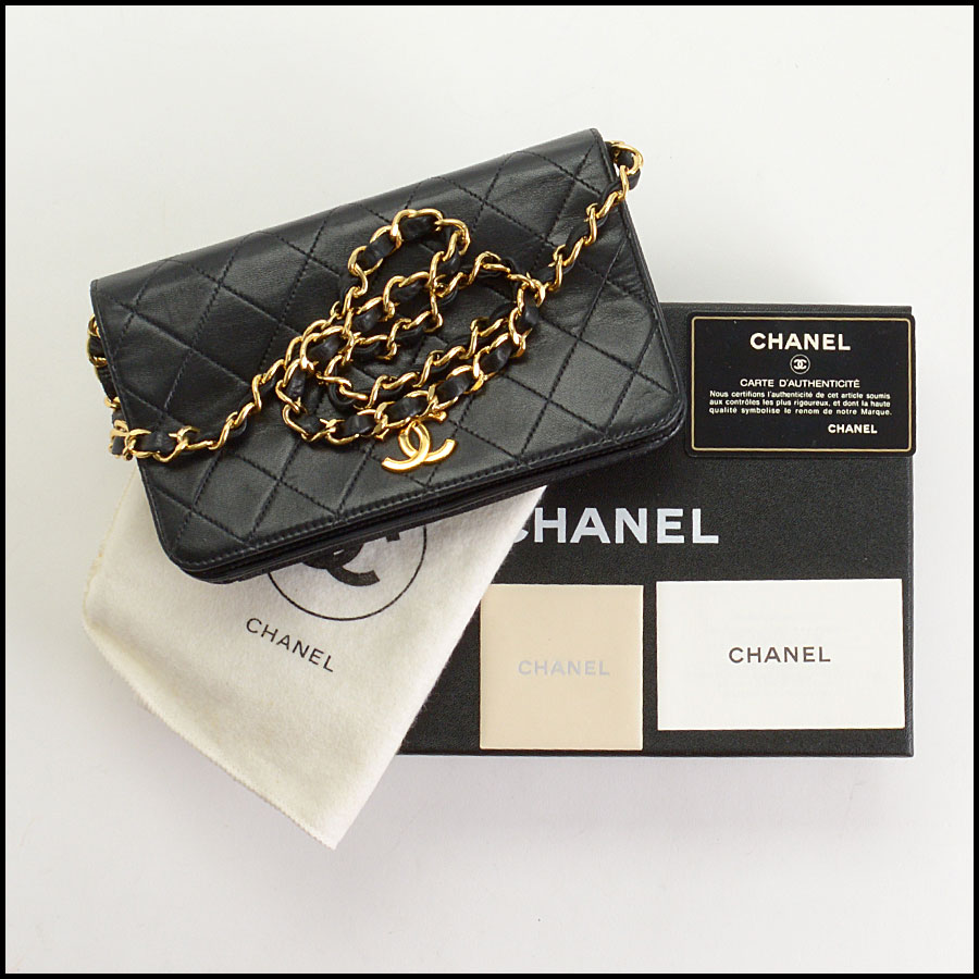 RDC10689 Chanel Black Quilted Lambskin Full Flap Evening Bag includes