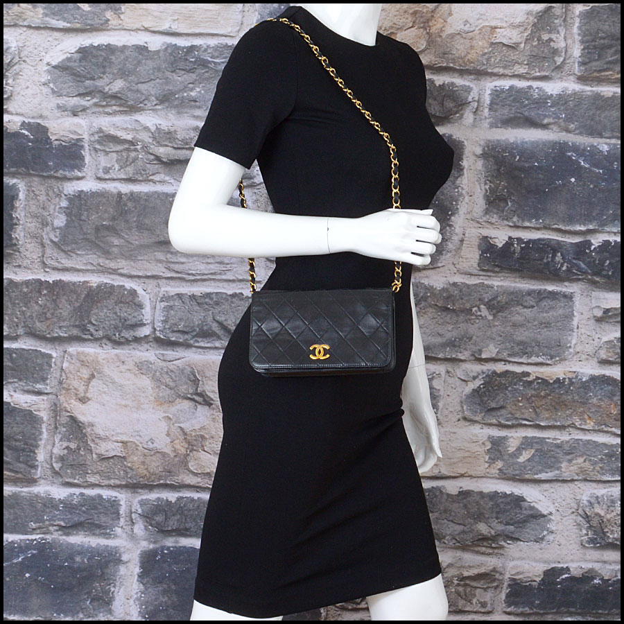 RDC10689 Chanel Black Quilted Lambskin Full Flap Evening Bag model