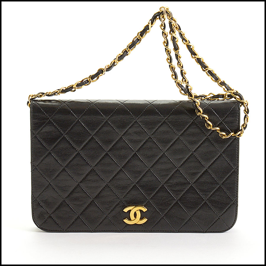 RDC10847 Chanel Vintage Black Lambskin Full Flap Shoulder Bag