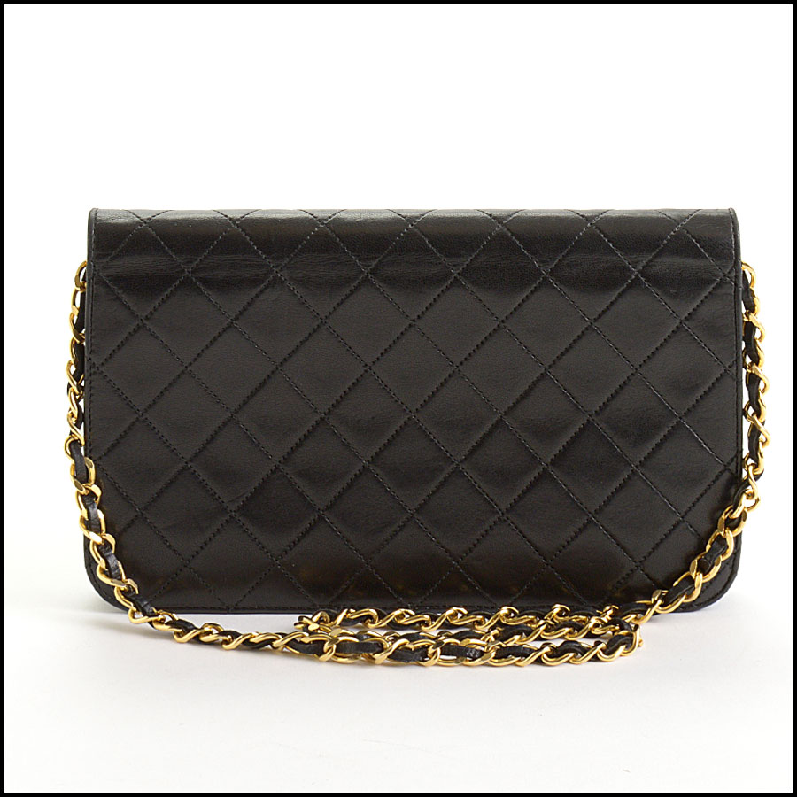 RDC10847 Chanel Vintage Black Lambskin Full Flap Shoulder Bag back