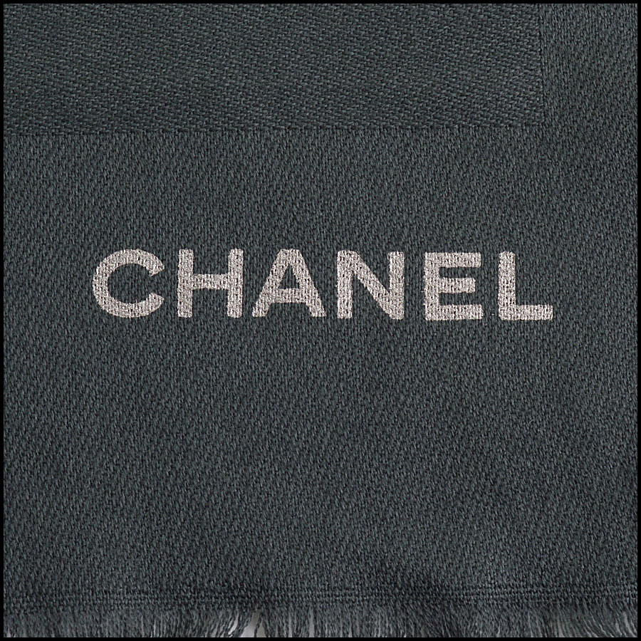 RDC11092 Chanel Dk. Gray Silver Stamped Logo Wool Scarf Wrap close up