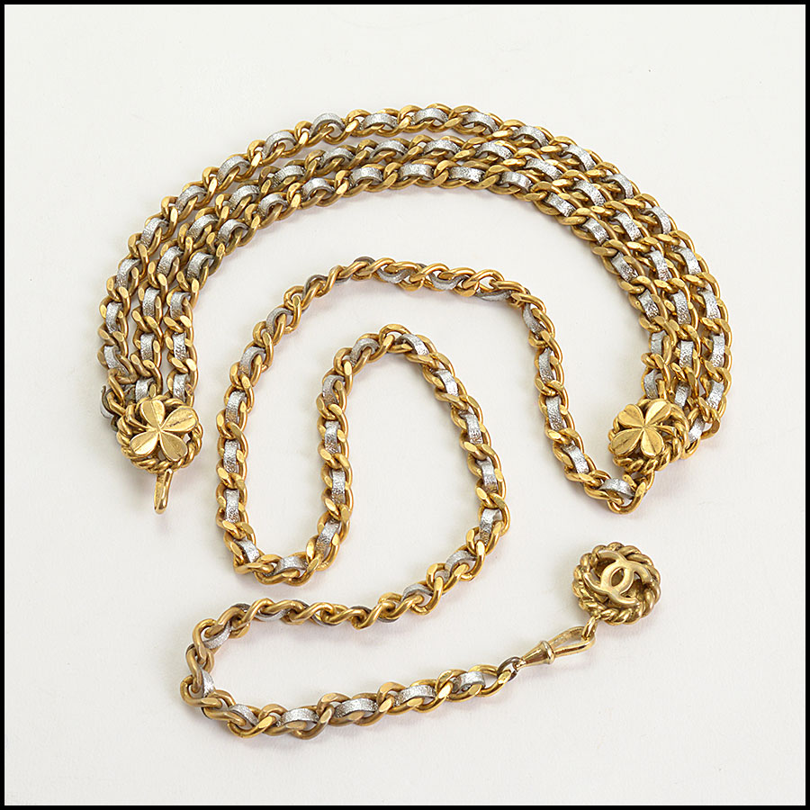 RDC10688 Chanel Silver Leather Gold Chain Link Belt