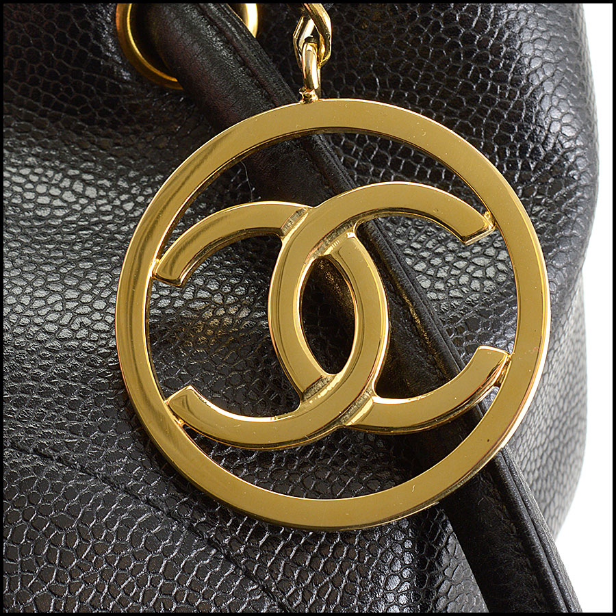 RDC10675 Chanel Black Caviar Leather Logo Loop Tote close up
