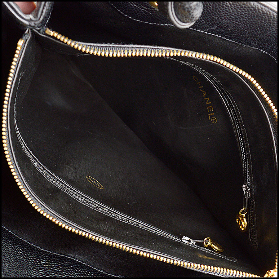 RDC10675 Chanel Black Caviar Leather Logo Loop Tote inside 1