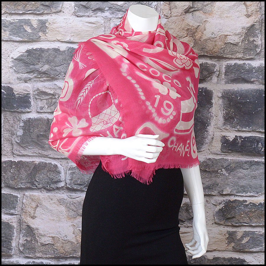 RDC11102 Chanel Hot Pink/Ivory Mementos Cashmere/Silk Scarf Wrap model