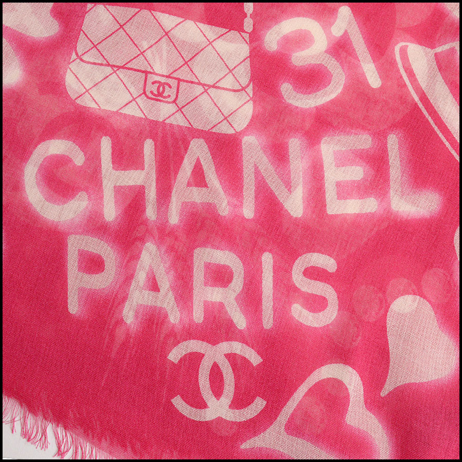 RDC11102 Chanel Hot Pink/Ivory Mementos Cashmere/Silk Scarf Wrap signature