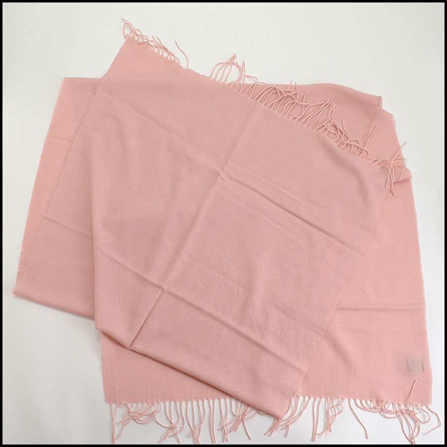 RDC10323 Chanel Pink Cashmere/Silk Fringed Wrap