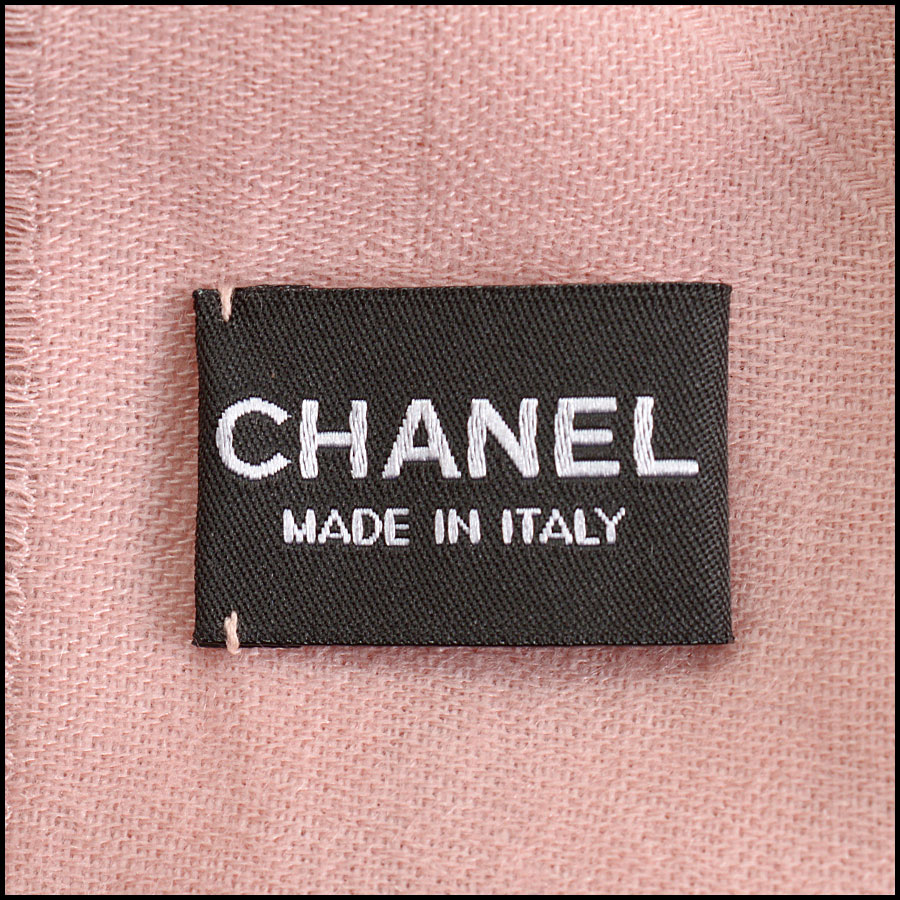 RDC10323 Chanel Pink Cashmere/Silk Fringed Wrap tag 2