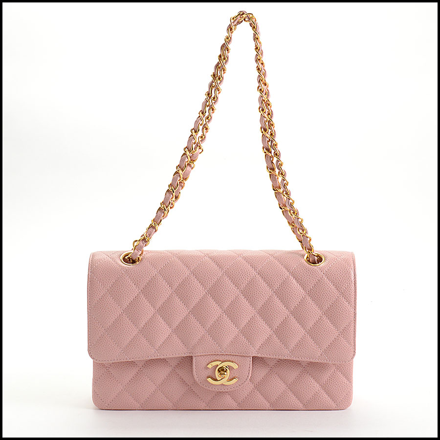 RDC10751 Chanel '04 Rose Pink Caviar Leather Med. Classic Double Flap