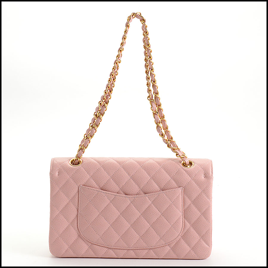 RDC10751 Chanel '04 Rose Pink Caviar Leather Med. Classic Double Flap back