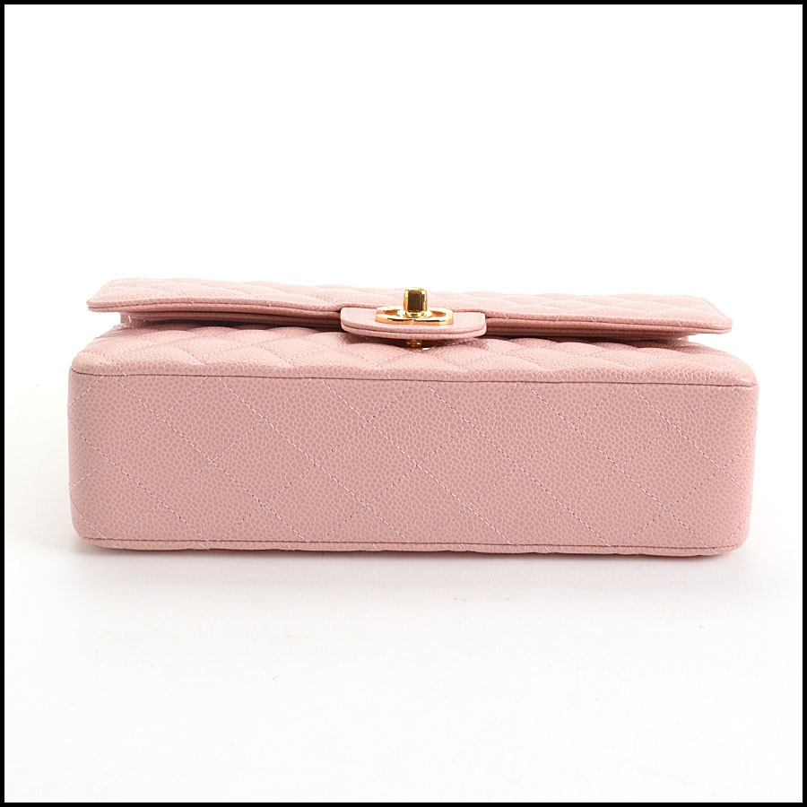 RDC10751 Chanel '04 Rose Pink Caviar Leather Med. Classic Double Flap bottom