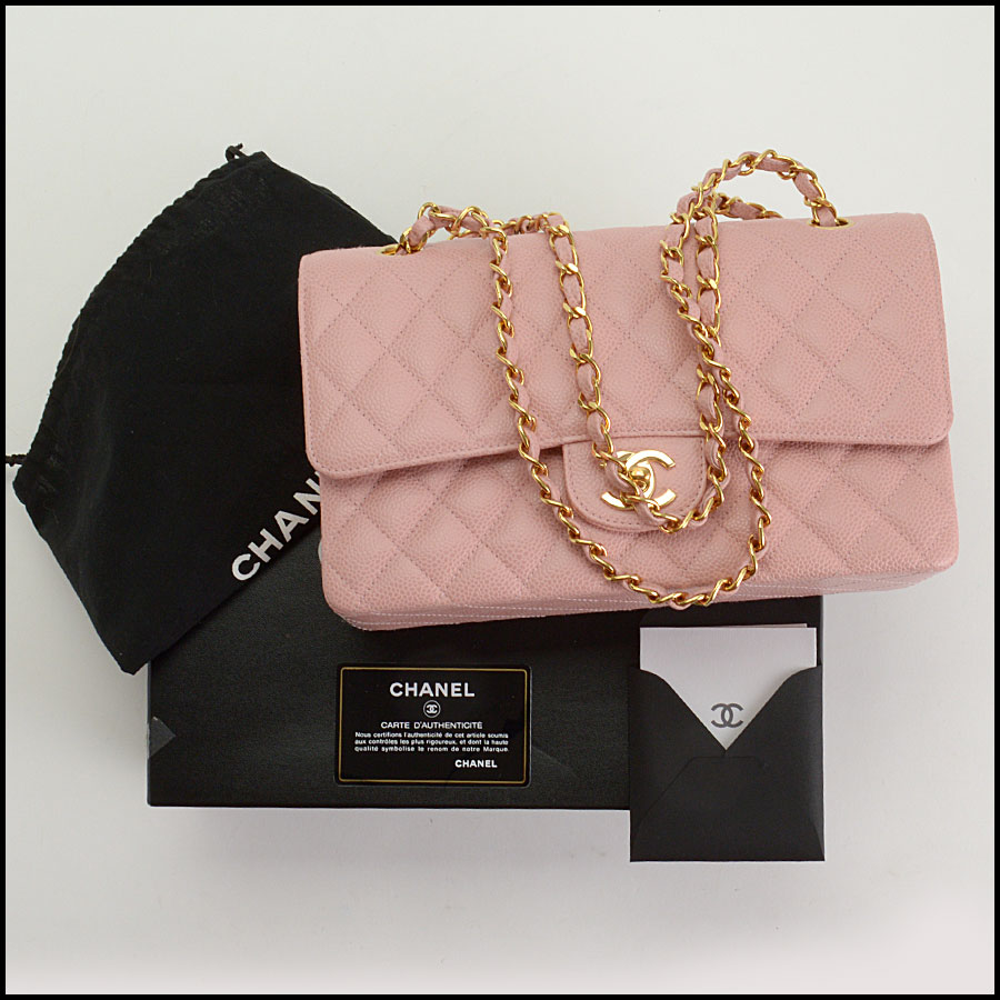 RDC10751 Chanel '04 Rose Pink Caviar Leather Med. Classic Double Flap includes