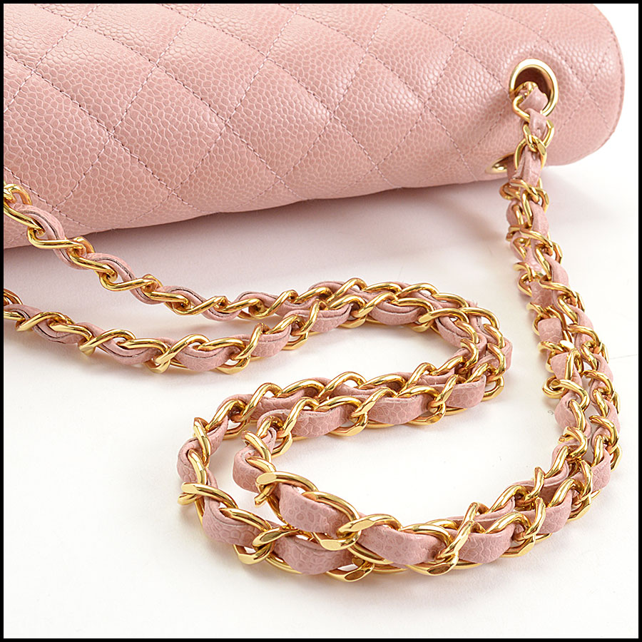 RDC10751 Chanel '04 Rose Pink Caviar Leather Med. Classic Double Flap handle