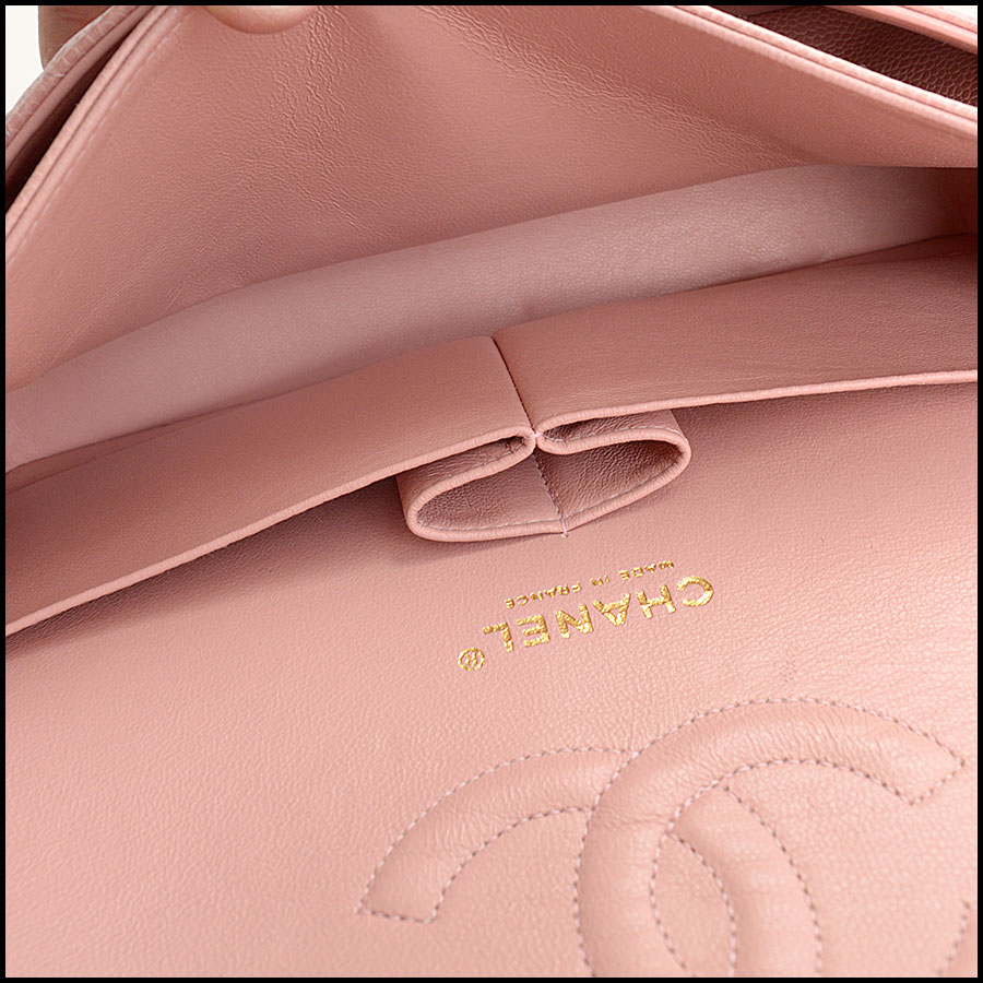 RDC10751 Chanel '04 Rose Pink Caviar Leather Med. Classic Double Flap inside 2