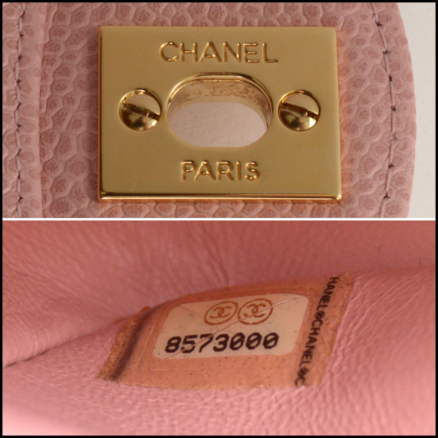 RDC10751 Chanel '04 Rose Pink Caviar Leather Med. Classic Double Flap tag 1