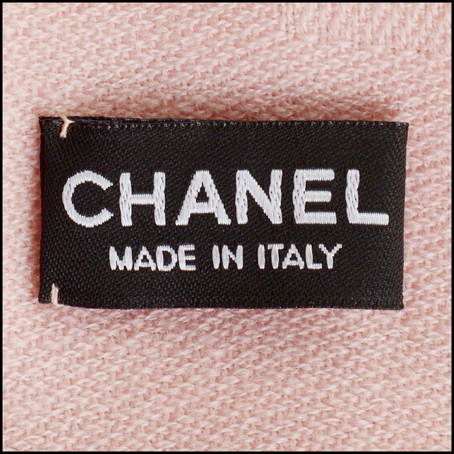 RDC11093 Chanel Pink Rose Gold Stamped Logo Wool Scarf tag 1