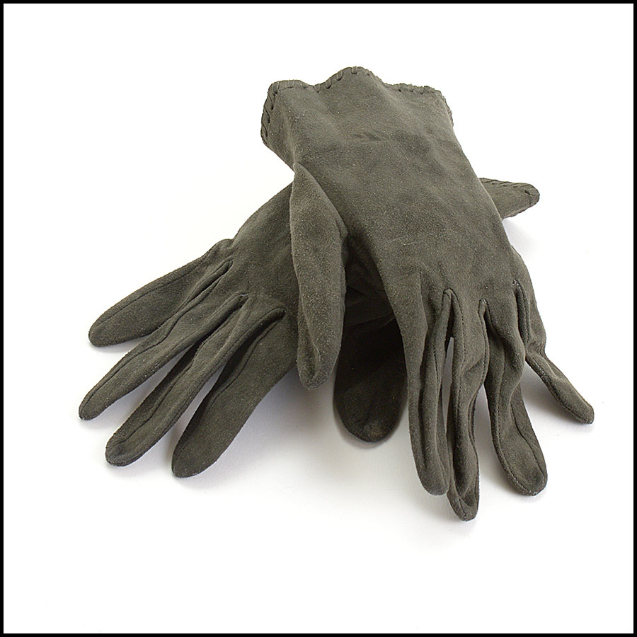 RDC10683 Chanel Dark Green Suede Gloves
