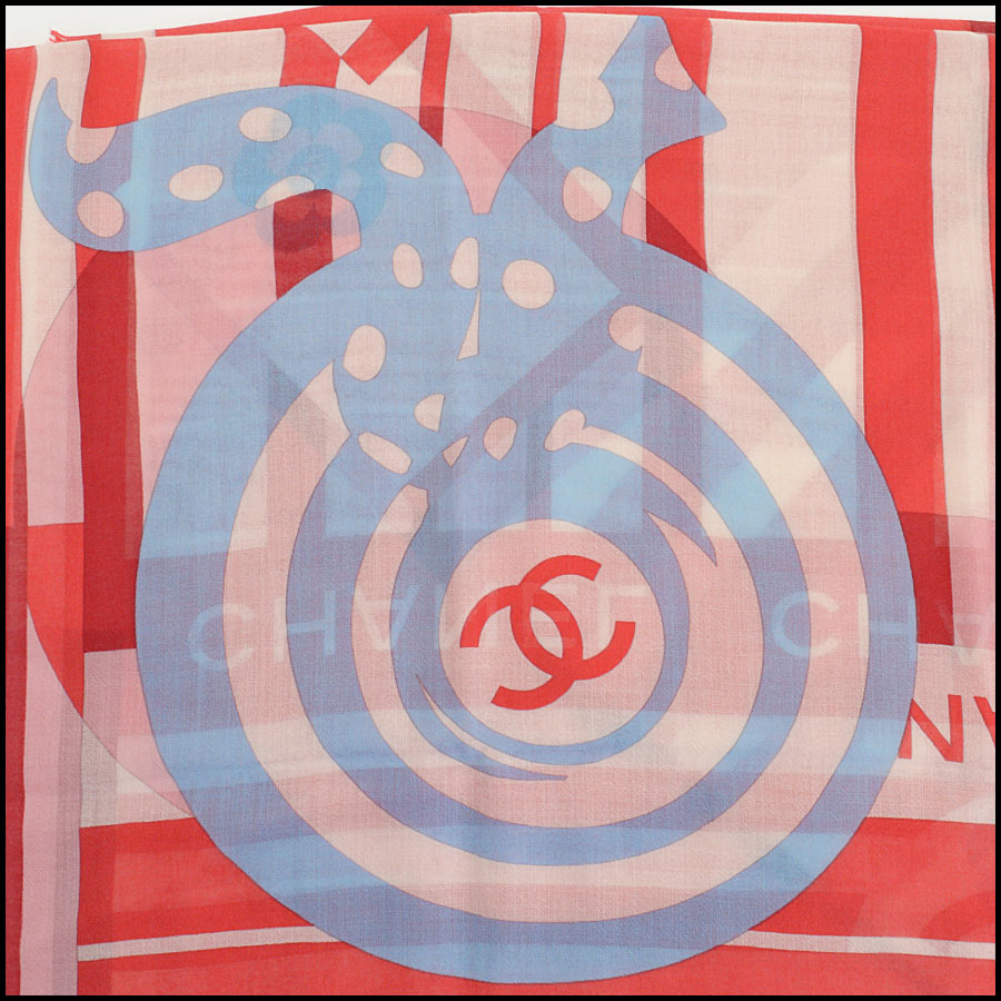 RDC11101 Chanel Red/Ivory/Blue Cashmere/Silk Scarf Wrap close up