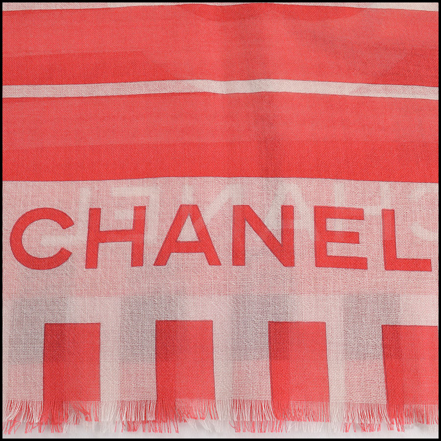 RDC11101 Chanel Red/Ivory/Blue Cashmere/Silk Scarf Wrap signature