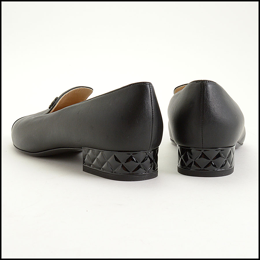 RDC11301 Chanel Black Leather Loafers Size 42 back