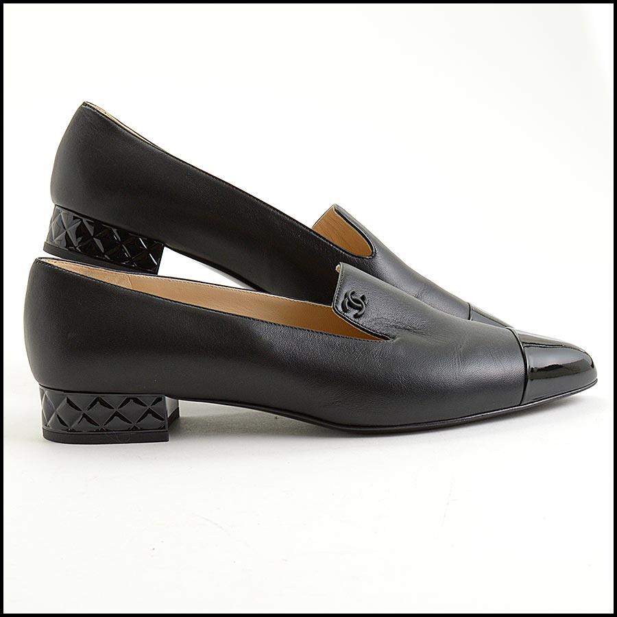 RDC11301 Chanel Black Leather Loafers Size 42 side