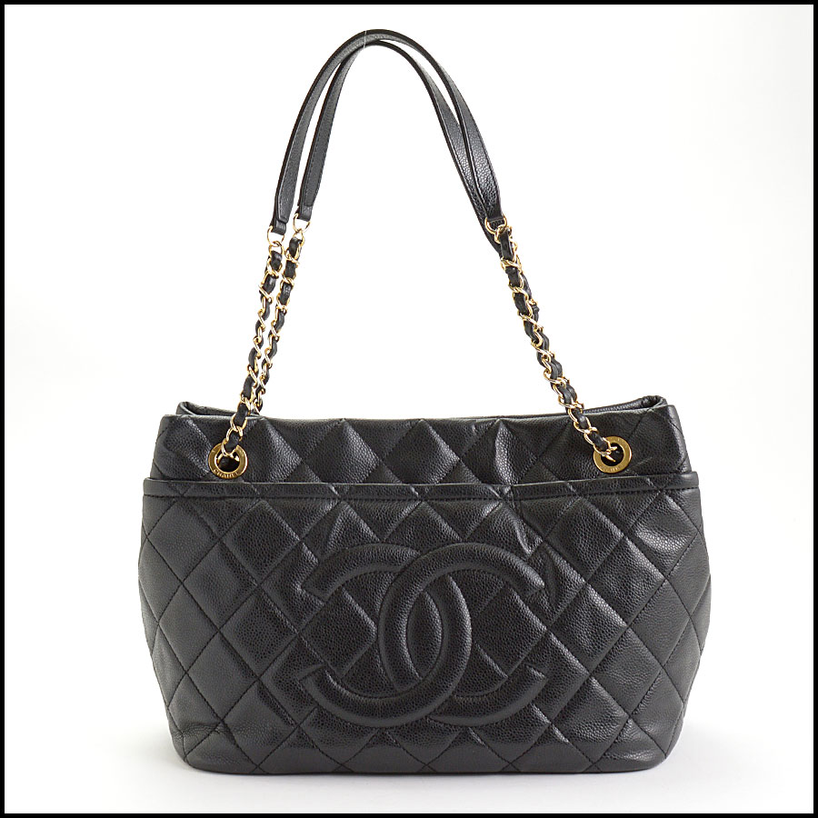 RDC10674 Chanel Black Quilted Caviar Leather Shopper Chain Tote
