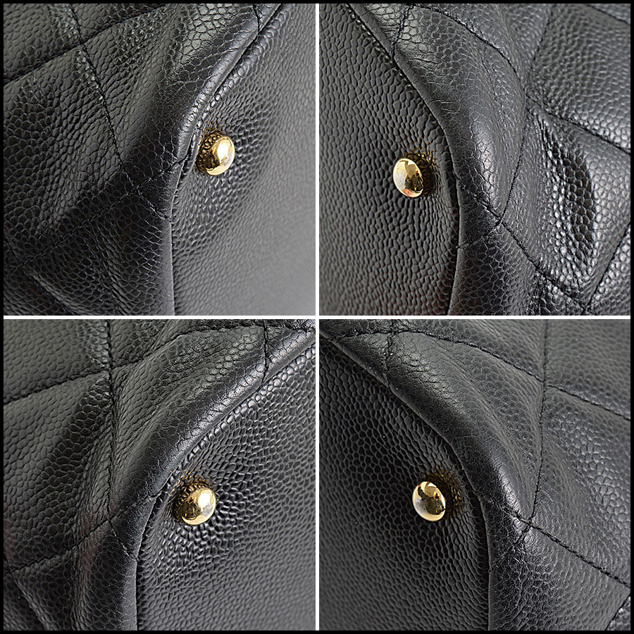 RDC10674 Chanel Black Quilted Caviar Leather Shopper Chain Tote corners