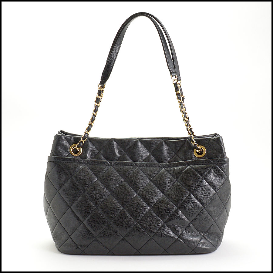 RDC10674 Chanel Black Quilted Caviar Leather Shopper Chain Tote back